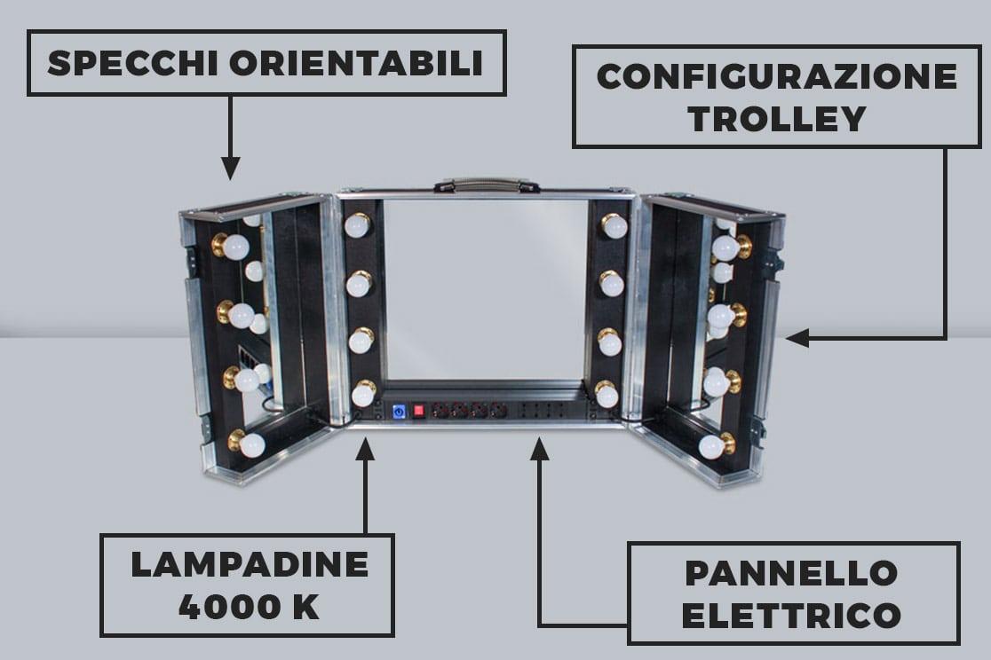Caratteristiche specchio portatile con luci
