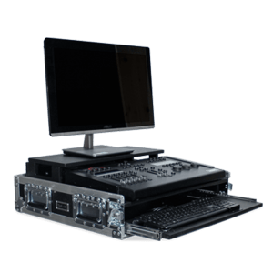 Flight case per mixer luci con monitor e tastiera