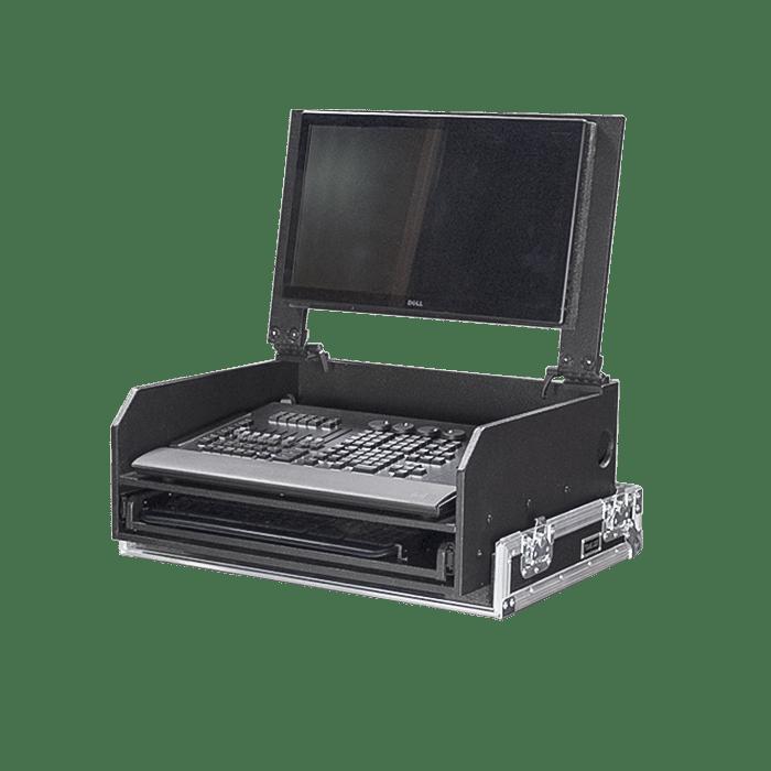 Flight case per MA onPC Command Wing con sostegno schermo inclinabile e piano estraibile per tastiera