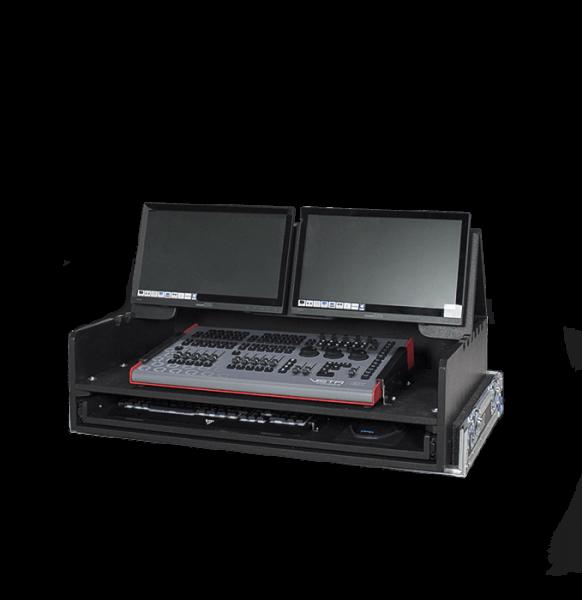 Flight case per Vista ex Control Surface con piano inclinabile per doppio schermo e piano estraibile per tastiera e mouse