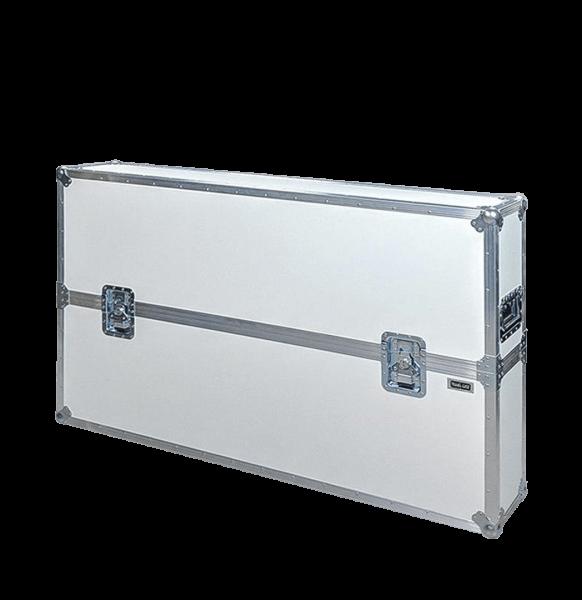 Flight case colore bianco con coperchio superiore per schermo tv 55 pollici