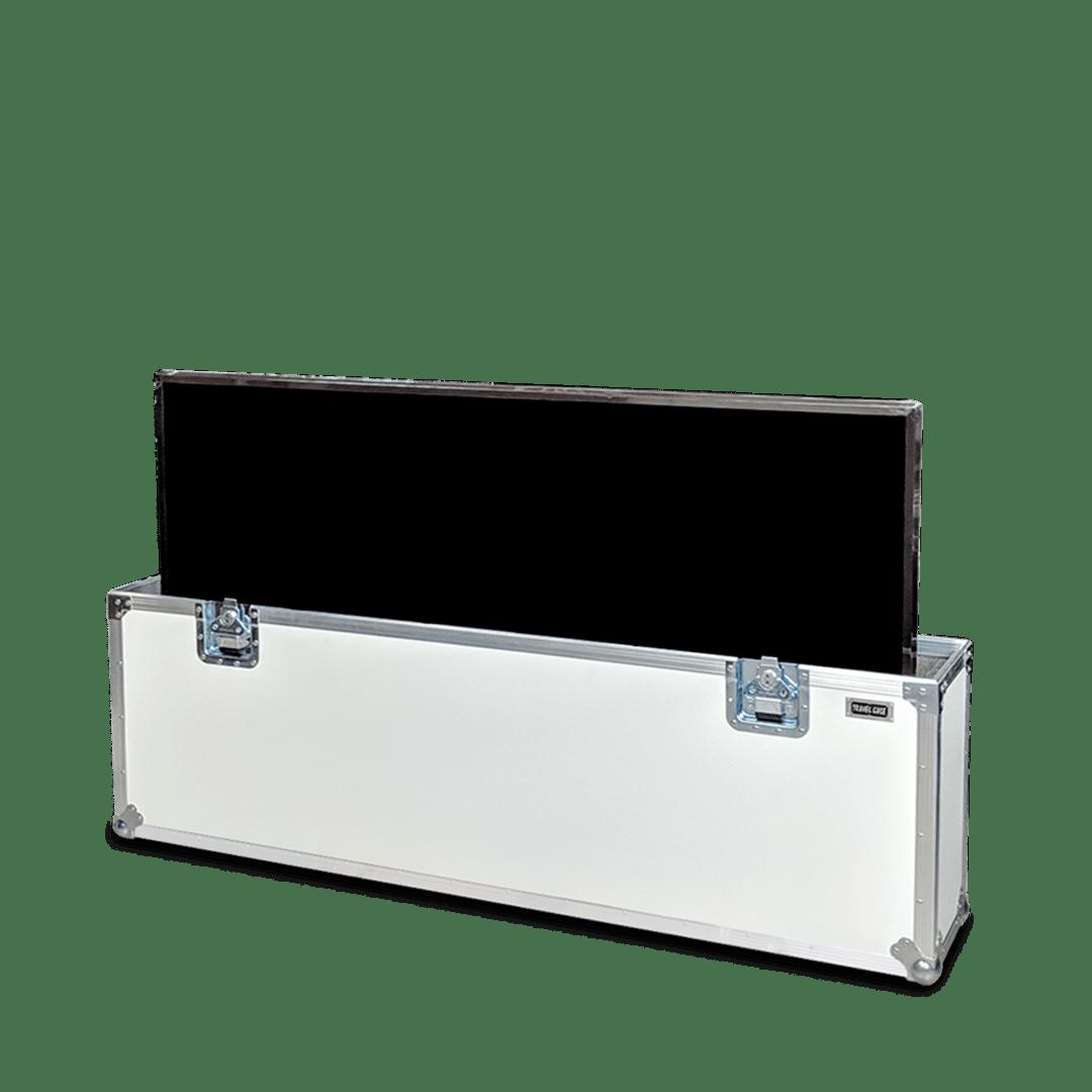 Flight case colore bianco per schermo tv 55 pollici