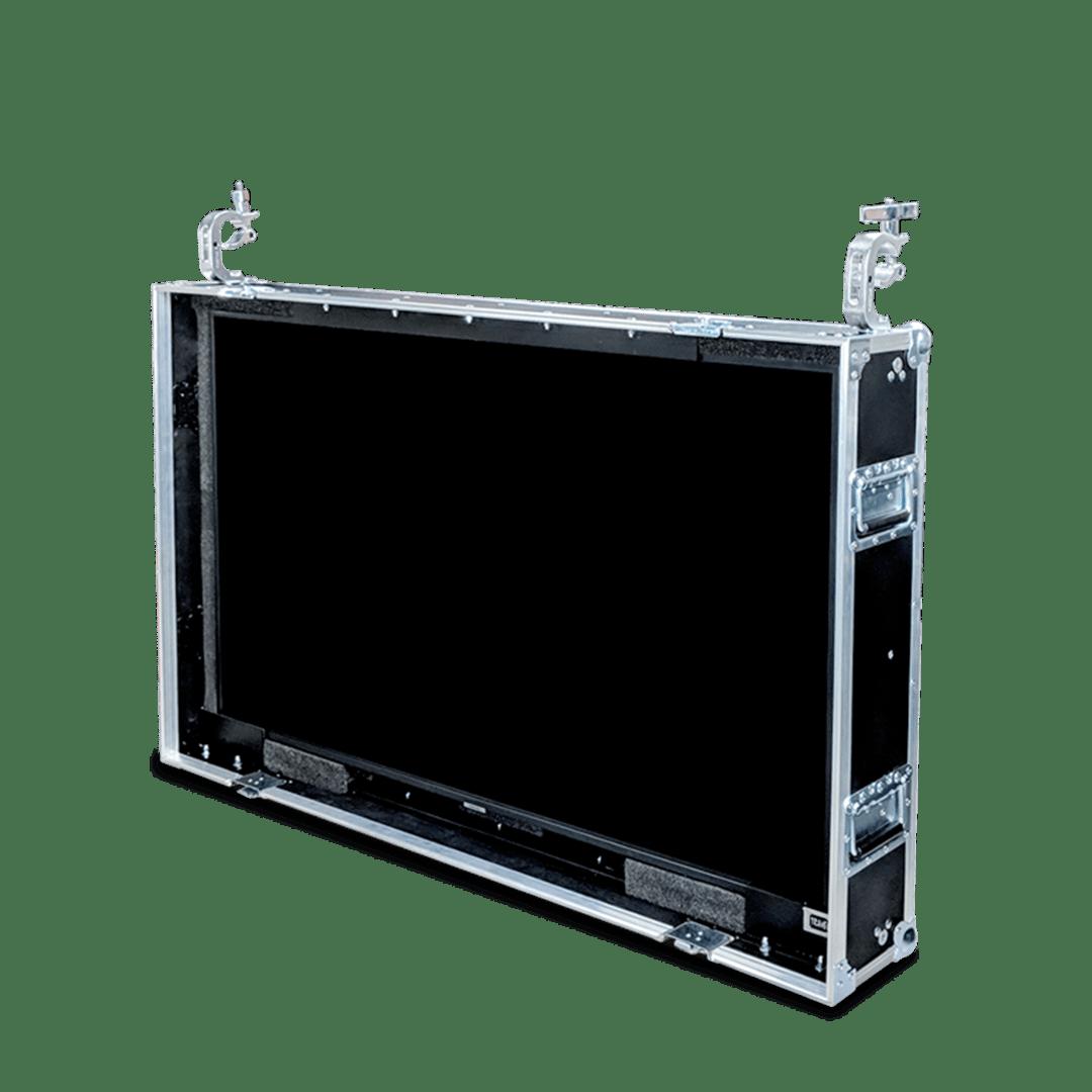 Flight case schermo tv 49 pollici con apertura frontale e ganci per sospensione