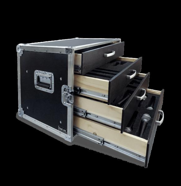 Flight case per microfoni con cassetti e imbottitura interna sagomata