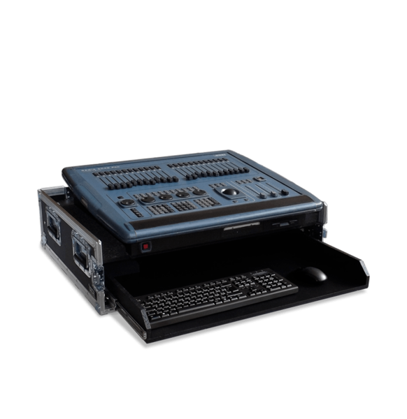 Flight case per mixer audio con piano scorrevole tastiera e mouse