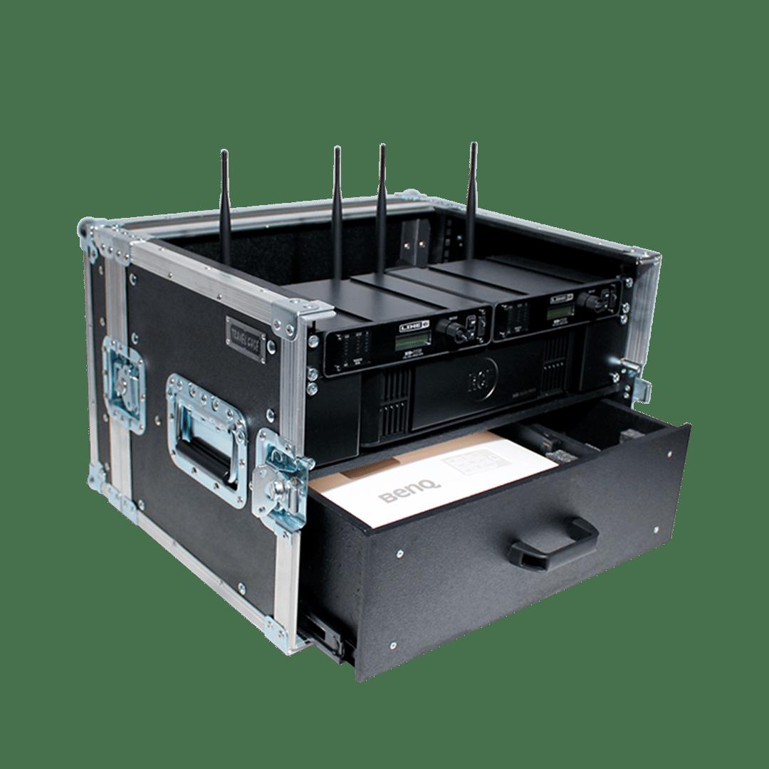 Flight case per radiomicrofoni Line6 con cassetto per proiettore
