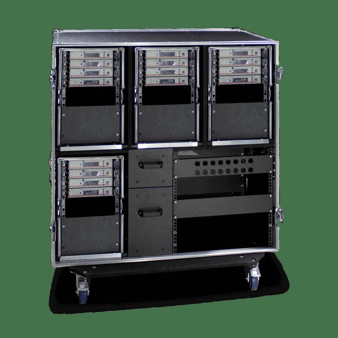 Flight case sistema modulare radiomicrofoni Sennheiser con vani accesssori e connessioni