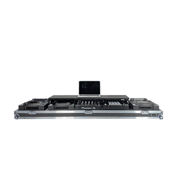 Flight case per consolle dj con mixer Pioneer e piano scorrevole per pc