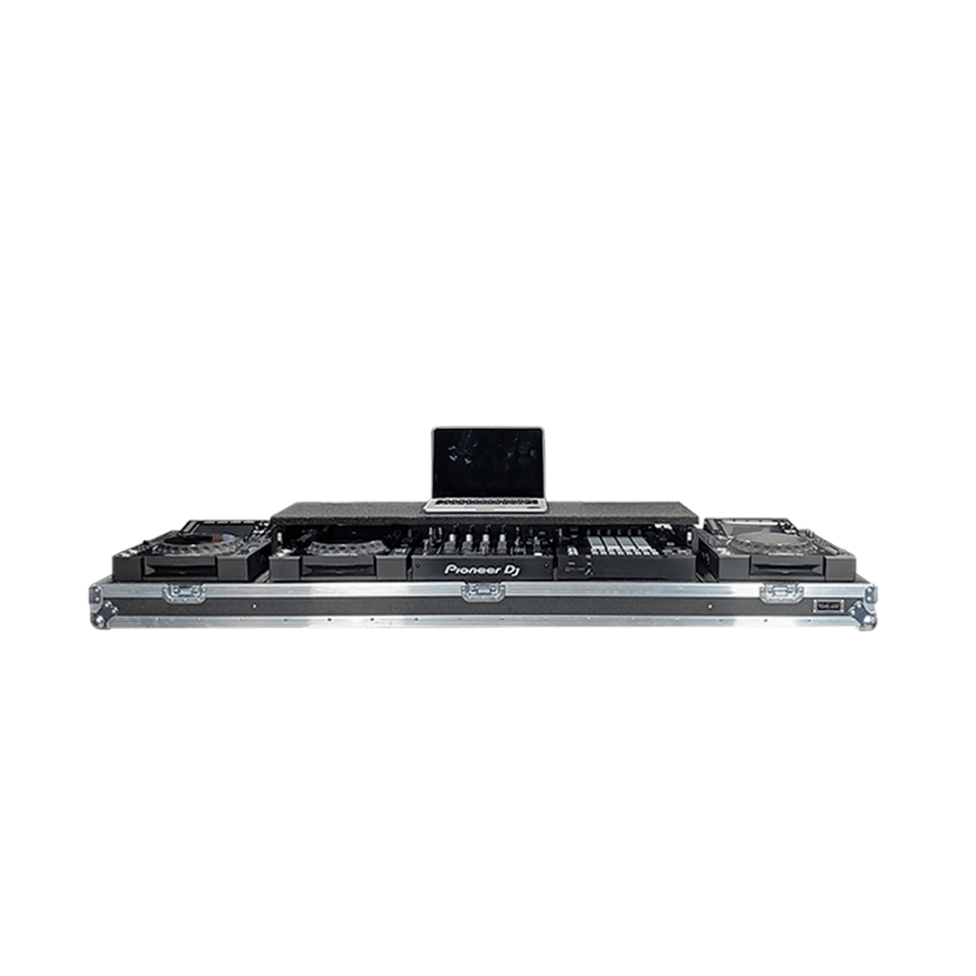 Flight case per consolle dj con mixer Pioneer e piano scorrevole per pc