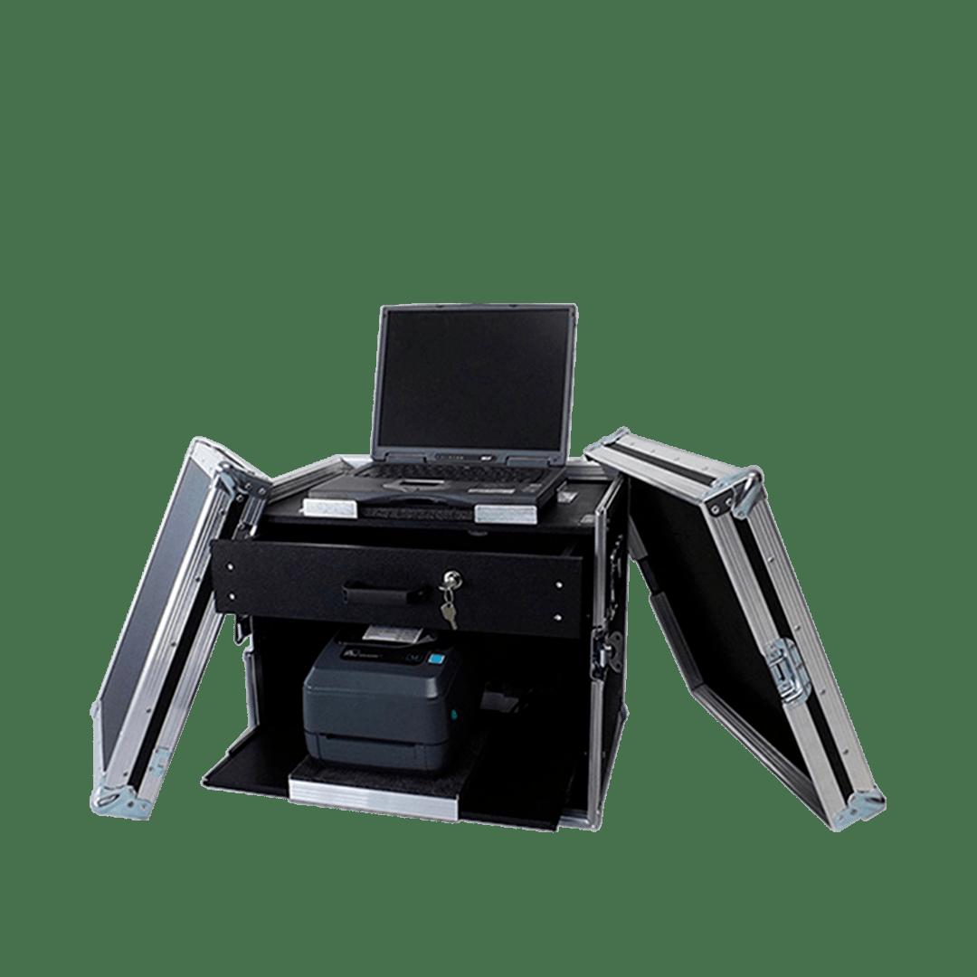 Workstation per biglietteria portatile con stampante, pc e cassetto accessori