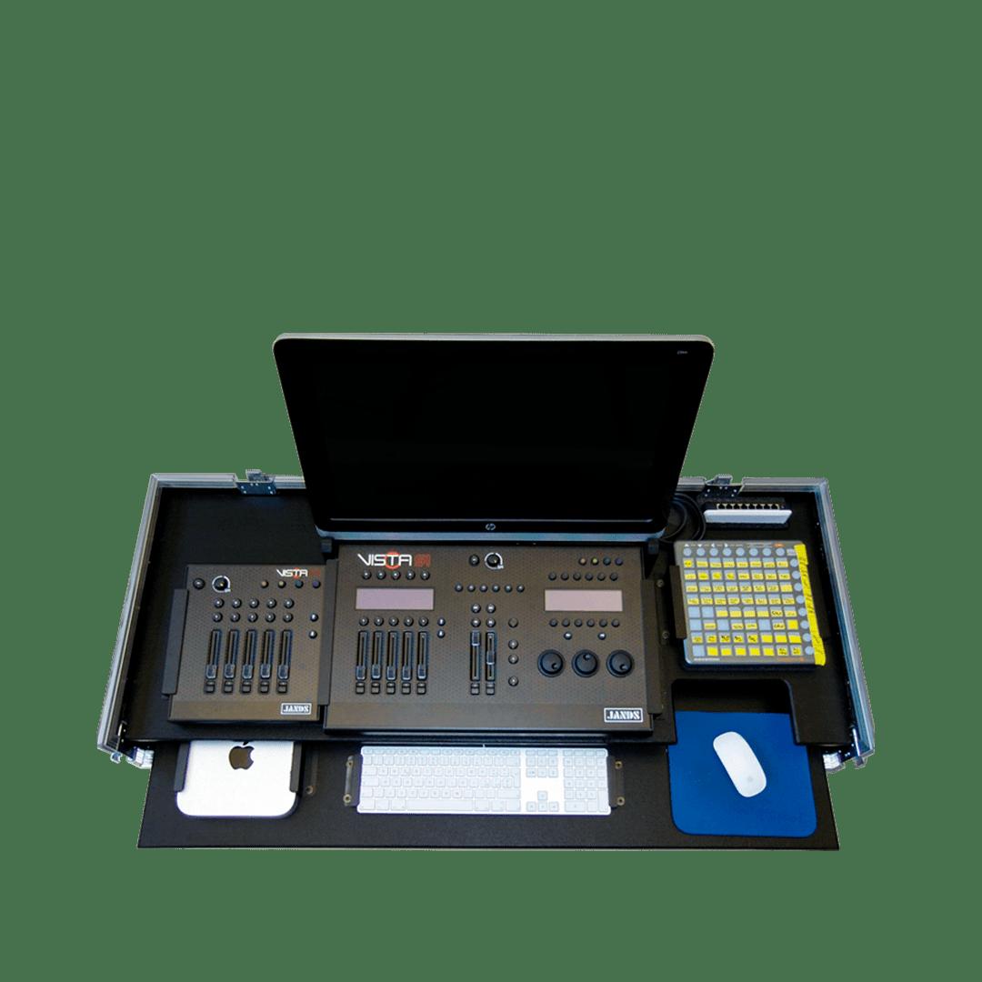 Workstation con mixer Jands Vista S1, schermo e piano estraibile con tastiera e pc