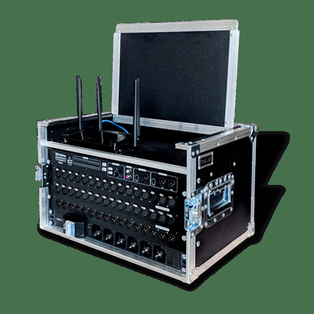 Workstation microfoni con barre rack e ciabatta eletttrica