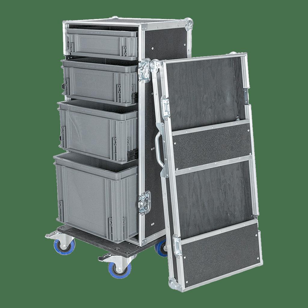 Work case con cassetti e coperchio con scomparti
